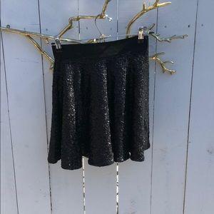 Black Sequin High Waisted Skirt